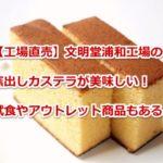 【浦和工場直売】文明堂の窯出しカステラが美味しい!試食やアウトレット商品も